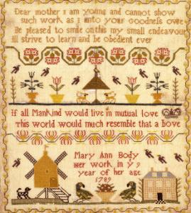 Flowers in Pots, A Windmill and a House with a Poem by Mary Ann Body to Her Mother Sampler by Body Mary Ann