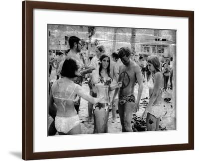 Body Painting on the Beach, 1969--Framed Photographic Print