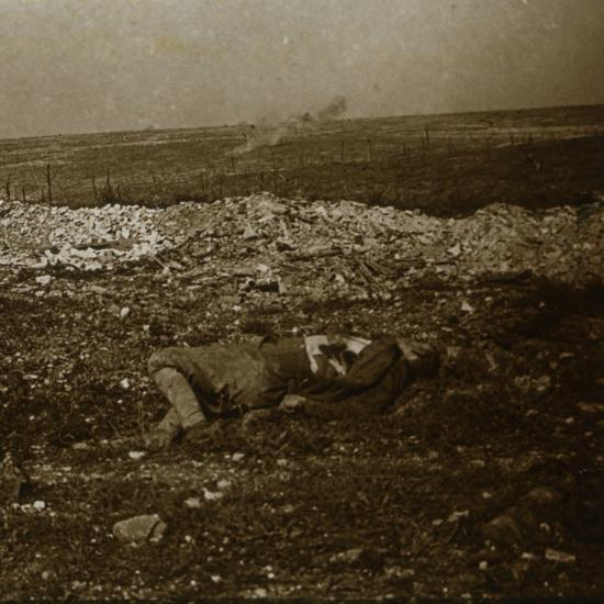 Body with barrage fire in the distance, c1914-c1918-Unknown-Photographic Print