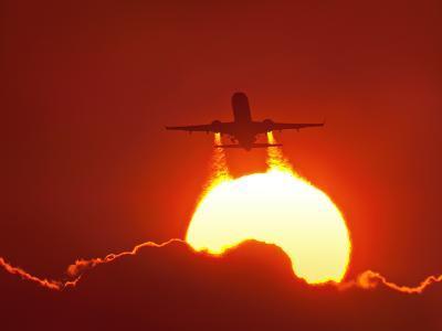 Boeing 737 Taking Off At Sunset-David Nunuk-Photographic Print