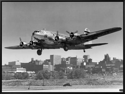 Boeing B-307 on Final Approach, 1940--Framed Canvas Print