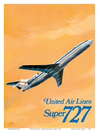 Boeing Super 727 Jet Airplane - United Airlines-C Bail-Art Print