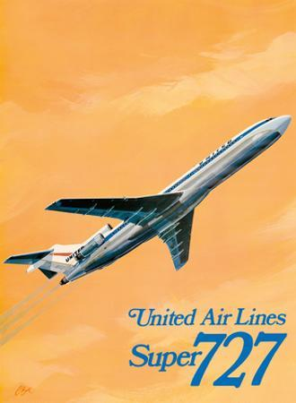 Boeing Super 727 Jet Airplane - United Airlines