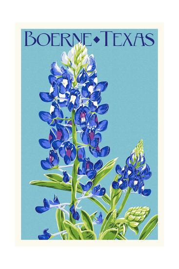 Boerne, Texas - Bluebonnet - Letterpress-Lantern Press-Art Print
