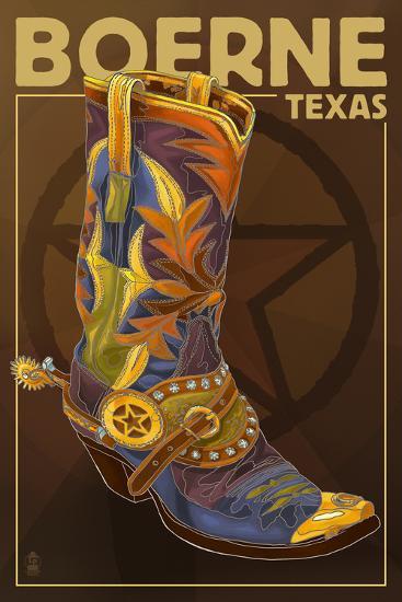 Boerne, Texas - Boot and Star-Lantern Press-Art Print