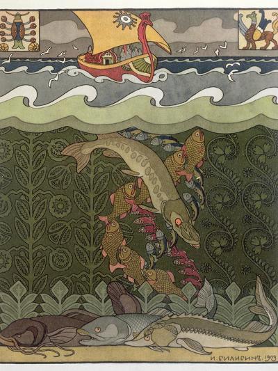 Bogatyr Volga Transforms himself into a Pike, illustration for the Russian Fairy Story, 'The Volga'-Ivan Bilibine-Giclee Print
