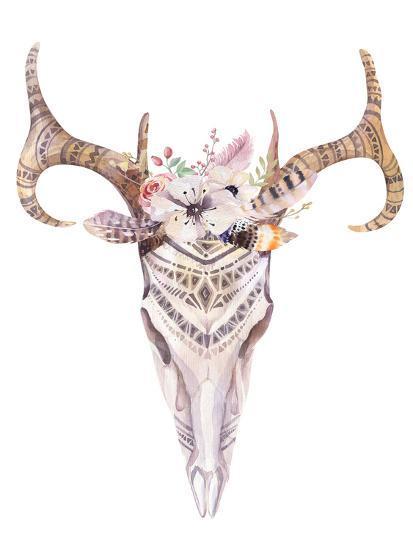 Bohemian Deer Skull - Western Mammal Watercolor-Kris_art-Art Print