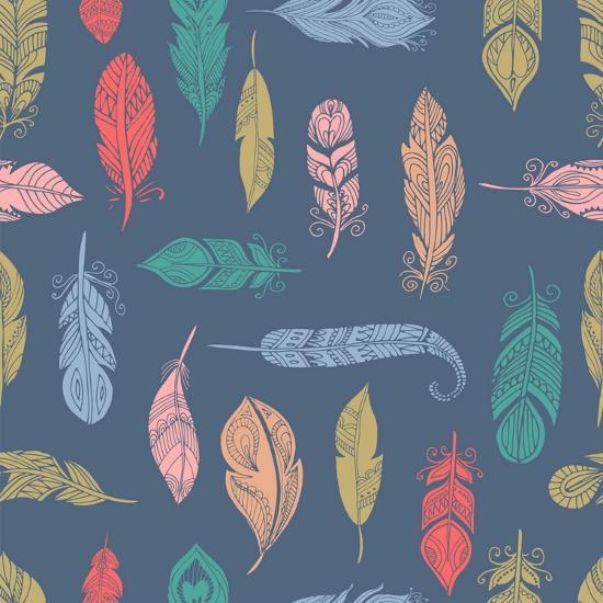 Bohemian Style Feathers Seamless Pattern-Marish-Art Print