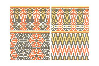 Bold Fretwork with Orange and Green--Art Print