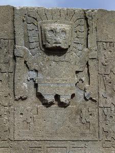 Bolivia, Ingavi Province, La Paz Department, Tiwanaku, Gateway of Sun Detail of Frieze