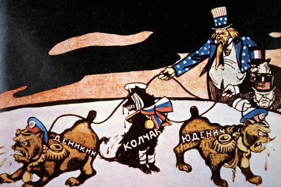 Bolshevik Cartoon On The Intervention Of The Usa Britain And France