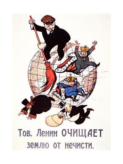 Bolshevik Poster Depicting Lenin Sweeping Away Emperors, Clergy and Capitalists, 1917--Giclee Print