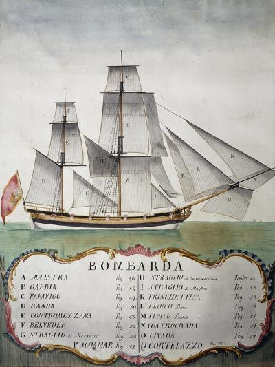 Bomb Vessel with Sails Nomenclature from Atlas of Sailing by Gian Maria Maffioletti--Giclee Print