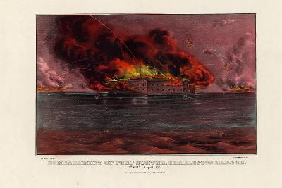Bombardment of Fort Sumter, Charleston Harbor, 12th and 13th of April 1861, Pub. by Currier and…--Giclee Print