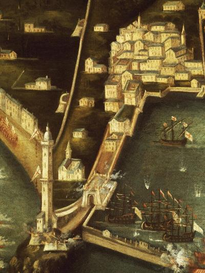 Bombardment of Genoa in 1684 by Fleet of French Ships, Painting Italy, Detail--Giclee Print
