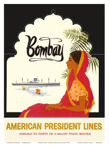 Bombay Mumbai India, Indian Woman in Red Sari, American President Lines