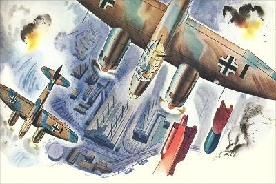 Bombers over Factory--Art Print