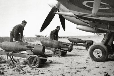 Bombs Being Loaded into a Supermarine Spitfire Mk XIV of the Royal Air Force--Photographic Print