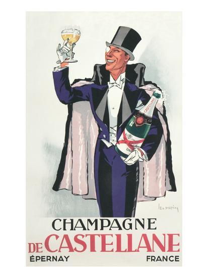 Bon Vivant with Champagne and Monocle--Art Print