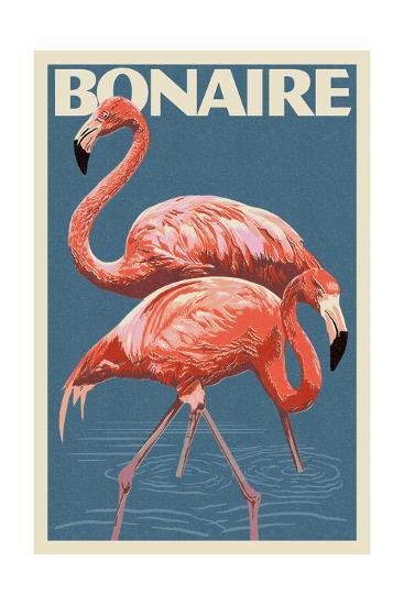 Bonaire, Dutch Caribbean - Flamingo-Lantern Press-Art Print