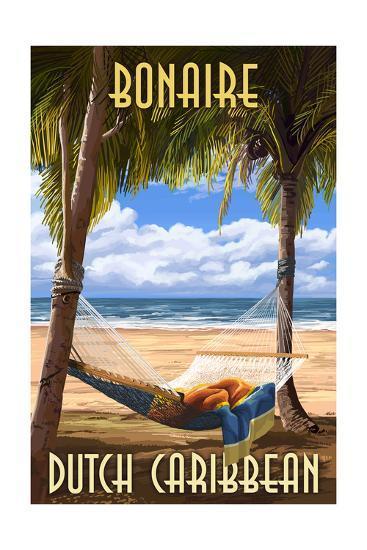 Bonaire, Dutch Caribbean - Hammock and Palms-Lantern Press-Art Print