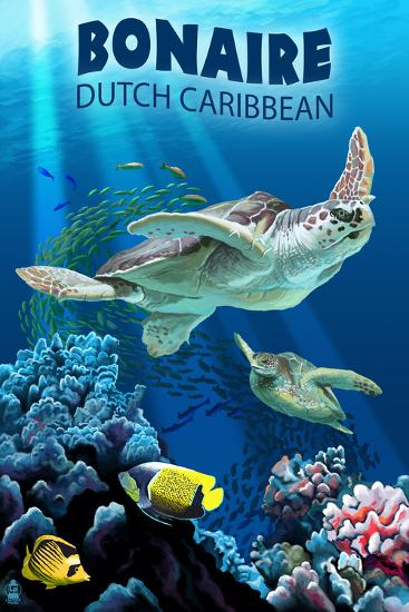 Bonaire, Dutch Caribbean - Sea Turtle Swimming-Lantern Press-Art Print