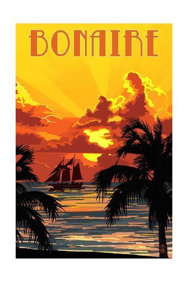 Bonaire, Dutch Caribbean - Sunset and Ship-Lantern Press-Art Print