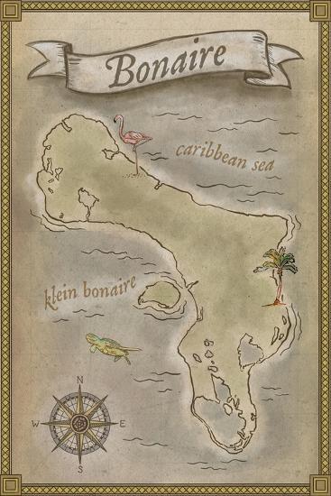 Bonaire, Dutch Caribbean - Treasure Map-Lantern Press-Art Print