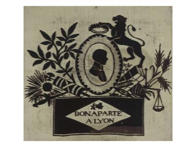"""""""Bonaparte à Lyon"""": tableau tissé dans un cadre noir et doré--Giclee Print"""