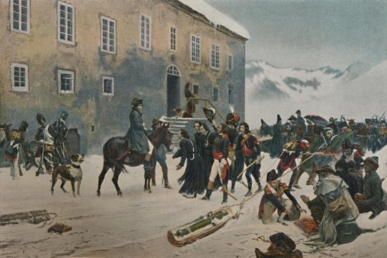 ''Bonaparte Received By The Monks of Mount St. Bernard. Passage of the Alps, May 1800', (1896)-Unknown-Giclee Print