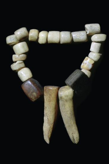 Bone and stone Neolithic necklace. Artist: Unknown-Unknown-Giclee Print