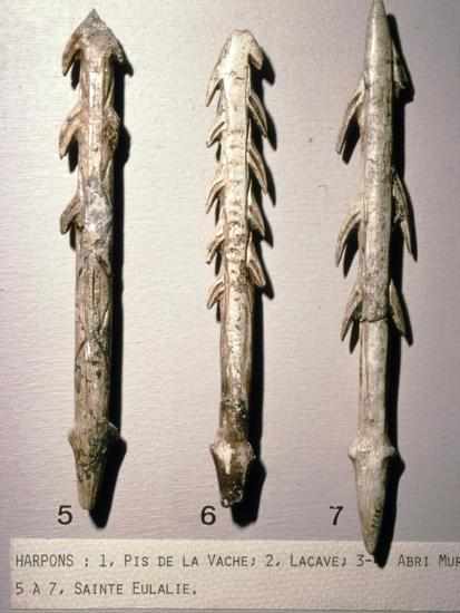 Bone Harpoons for fishing, Dordogne region, France, Paleolithic Period, (c20th century)-Unknown-Giclee Print