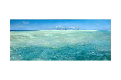 Bones Up with the Tide: a Panoramic Island View of Bonefish Searching for Food in Shallow Water-Stanley Meltzoff-Giclee Print