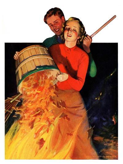 """""""Bonfire,""""December 12, 1936-John Newton Howitt-Giclee Print"""