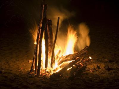 Bonfire on Beach, Punta Islita, Nicoya Pennisula, Pacific Coast, Costa Rica, Central America-R H Productions-Photographic Print