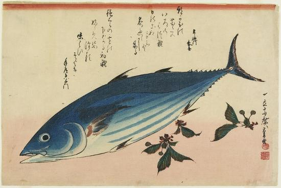 Bonito and Cherry Leaves, 1832-1833-Utagawa Hiroshige-Giclee Print