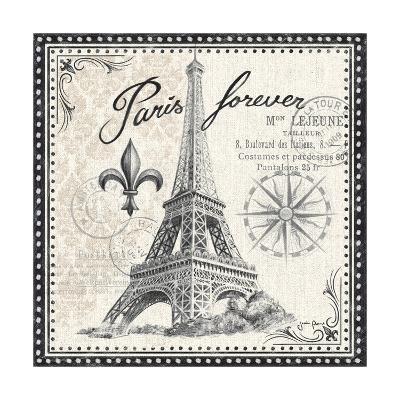 Bonjour Paris III Dark-Janelle Penner-Art Print