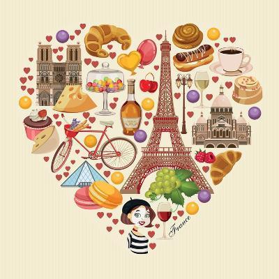 Bonjour Paris. Paris Je Taime - Text in French. Hello Paris. Paris, I Love You!-Tatsiana Tsyhanova-Art Print