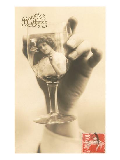 Bonne Annee, Girl in Wine Glass--Art Print