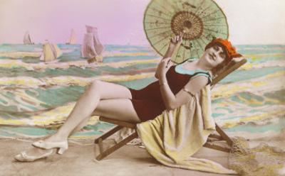 Bonne Annee, Lady in Beach Chair with Umbrella