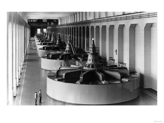 Bonneville Dam View of Generators Photograph - Bonneville Dam, WA-Lantern Press-Art Print
