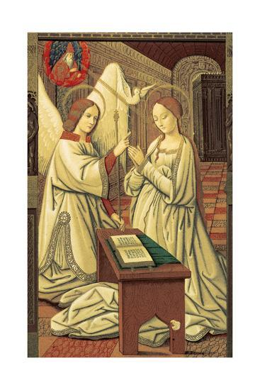 Book Hours. Annunciation of Mary. Miniature. 15th Century. Codex of Anne of Brittany--Giclee Print