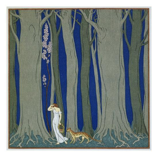 Book Illustration of a Woman and a Leopard in the Forest by Georges Barbier-Stapleton Collection-Premium Giclee Print