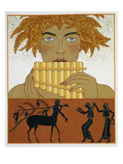 Book Illustration of a Woman Playing Panpipes and a Centaur Greeting Two Women by Georges Barbier-Stapleton Collection-Giclee Print