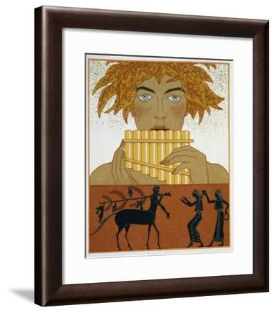 Book Illustration of a Woman Playing Panpipes and a Centaur Greeting Two Women by Georges Barbier-Stapleton Collection-Framed Giclee Print