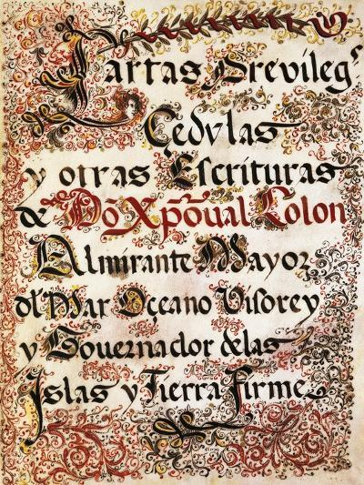 Book of Privileges Granted to Christopher Columbus--Giclee Print