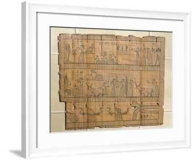 Book of the Dead on Papyrus, Djedhor Working in the Fields of the Afterlife Using Irrigation Canals--Framed Giclee Print