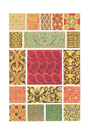 Book Pattern of Different Designs in Each Square--Art Print
