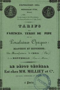 Book Rates the Manufacture De Creil-Montereau 1838