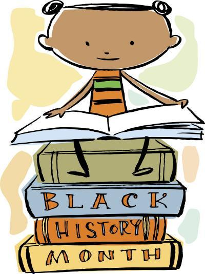 Book Reading Atop Books During Black History Month--Photo